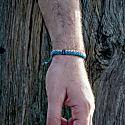 Ecru & Blue Twined Nautical Rope & Stainless Steel Bracelet - Hylander image