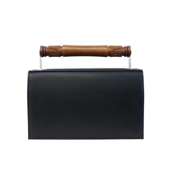 AEVHA LONDON Helve Clutch In Black With Wooden Handle