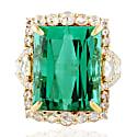18Kt Rose Gold Natural Diamond Tourmaline Gemstone Ring image