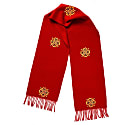 Made By Refugees Hand Embroidered Cashmere Scarf - Red Flower Motif image