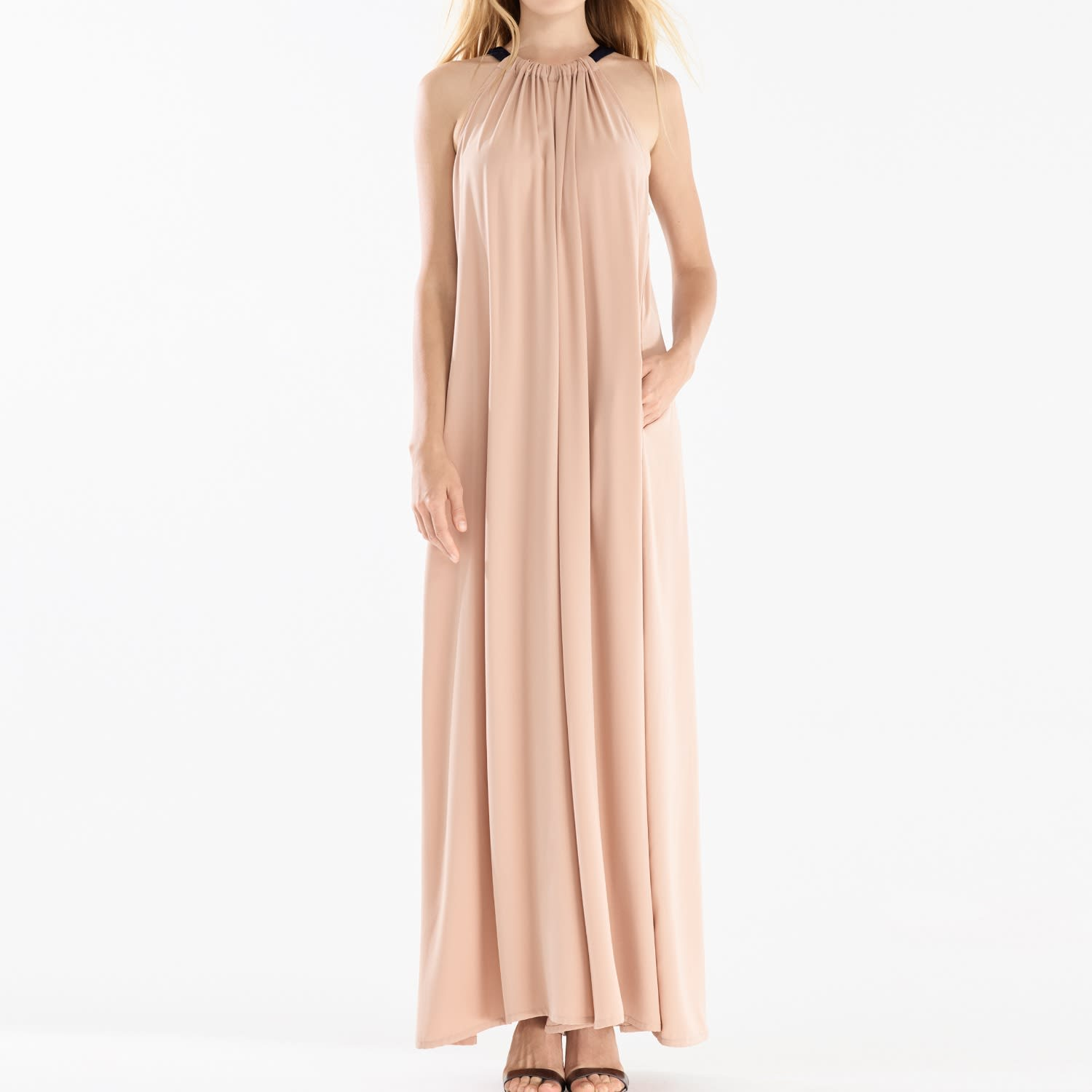 3401642ad6 Two Tone Halterneck Jumpsuit With Pastel Belt (With Faux Leather Belt) In  Blush
