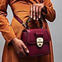Grace Oxblood Red Top Handle Handbag With Interchangeable Oxblood Braided Handle image