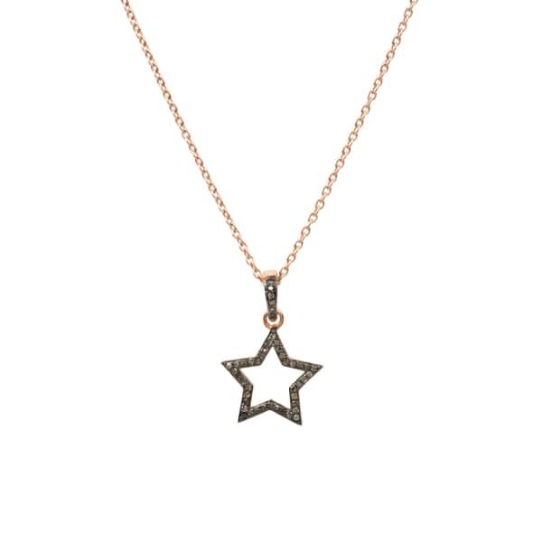 LATELITA LONDON Diamond Open Star Necklace Rosegold