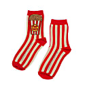 Laines London Luxe Red & Cream Stripe Cotton Socks With Bespoke Popcorn Brooch image