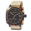 Briston Clubmaster Classic 3 Hand Matt Tortoise Shell Acetate, Matt Black Dial And Khaki Nato Strap image