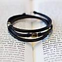 Trinity3 - Green Baltic Amber & Black English Bridle Bracelet image