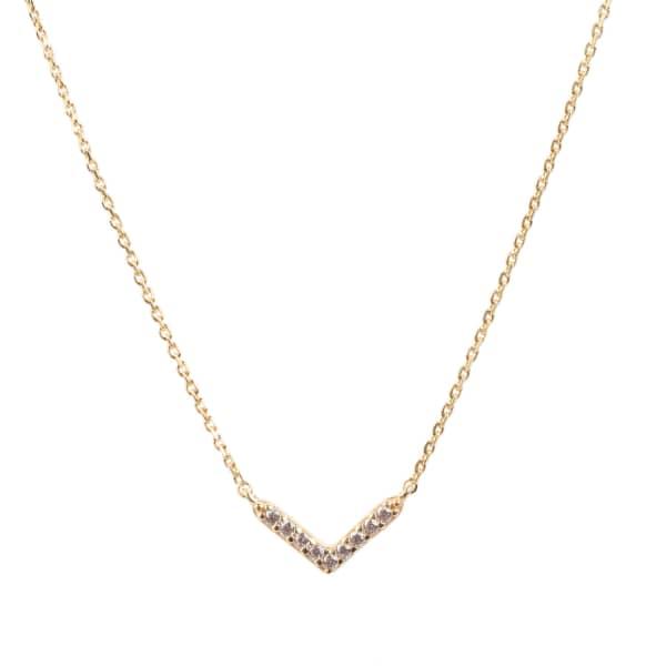 LATELITA LONDON Small Chevron Necklace Arrow Gold