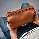 Deluxe Tan Leather Wash Bag image