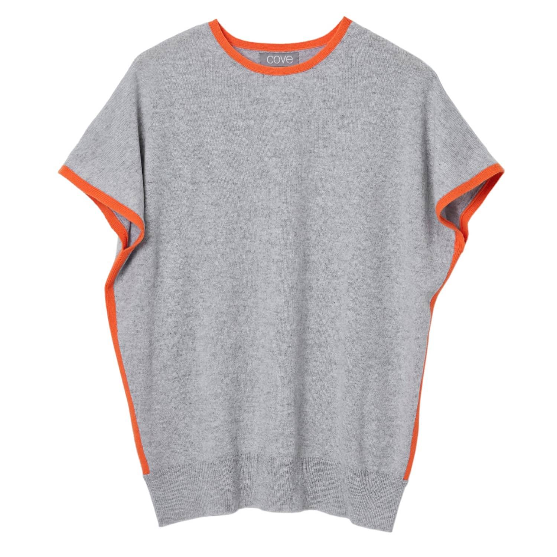 5ef214b6ed Eva Cashmere Jumper Grey With Orange | Cove | Wolf & Badger
