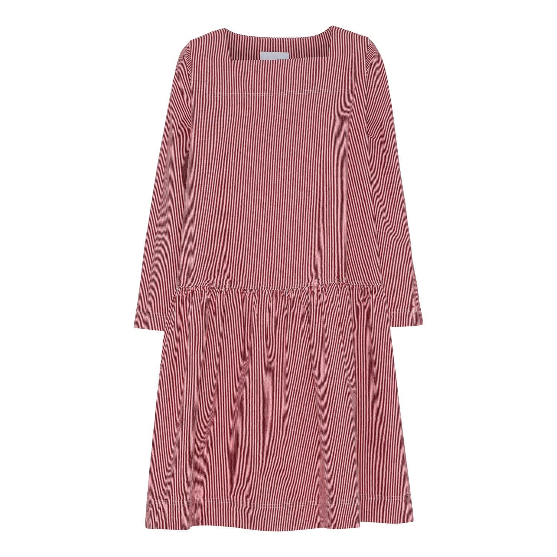 83e01825ec5e Loose Striped Denim Dress In Red image