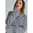 Alisha Smart Casual Top In Red & White Gingham With V-Neck & Giant Cuffs image