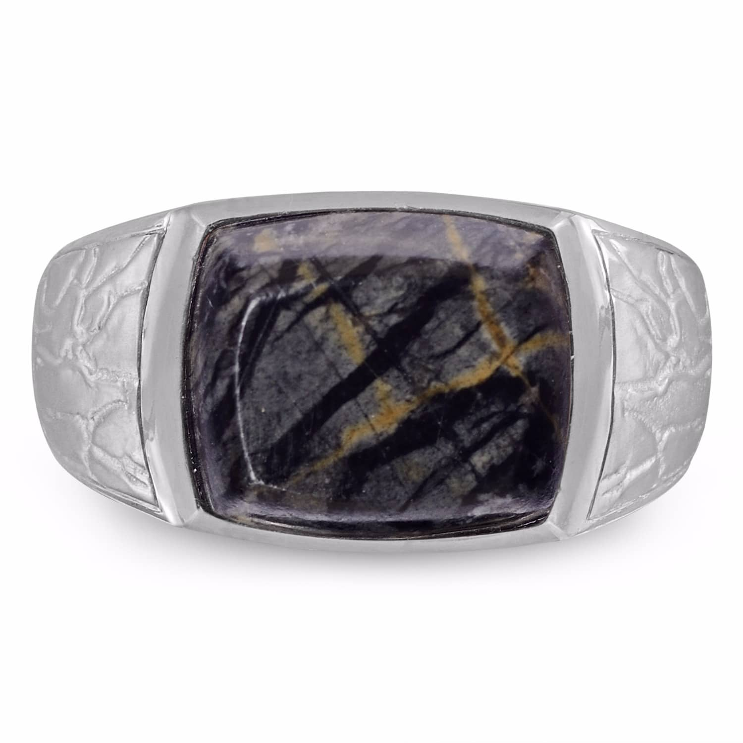 Grey Picture Jasper Stone Ring Lmj Wolf Badger