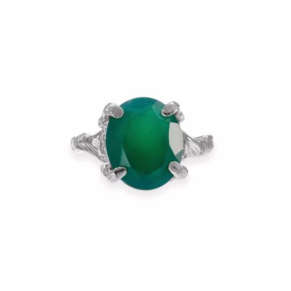 CHUPI Drop In The Wild Ring Green Onyx In Silver
