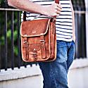 Vida Vintage Leather Day Satchel - Long image