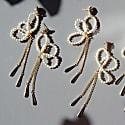Swallowtail Butterfly Freshwater Pearl & Crystal Drop Earrings image