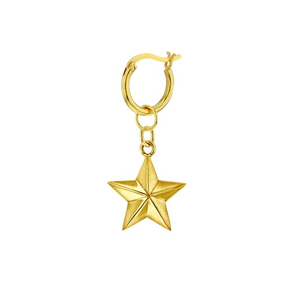 True Rocks 18 Carat Gold Plated Star Earring, Hung On A 18 Carat Gold Plated Hoop.