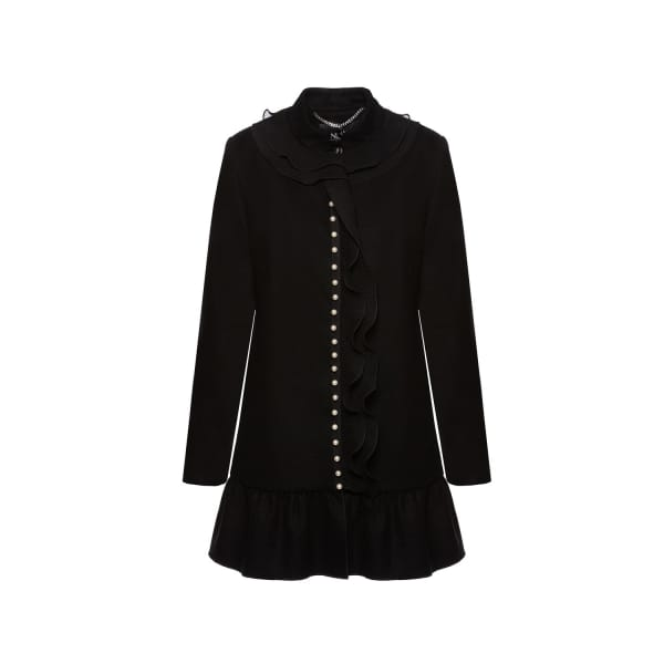 NISSA Coat With Ruffle & Pearl Details