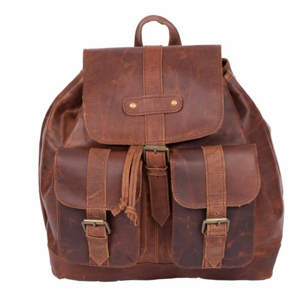 MAHI LEATHER Leather Nomad Backpack in Vintage Brown
