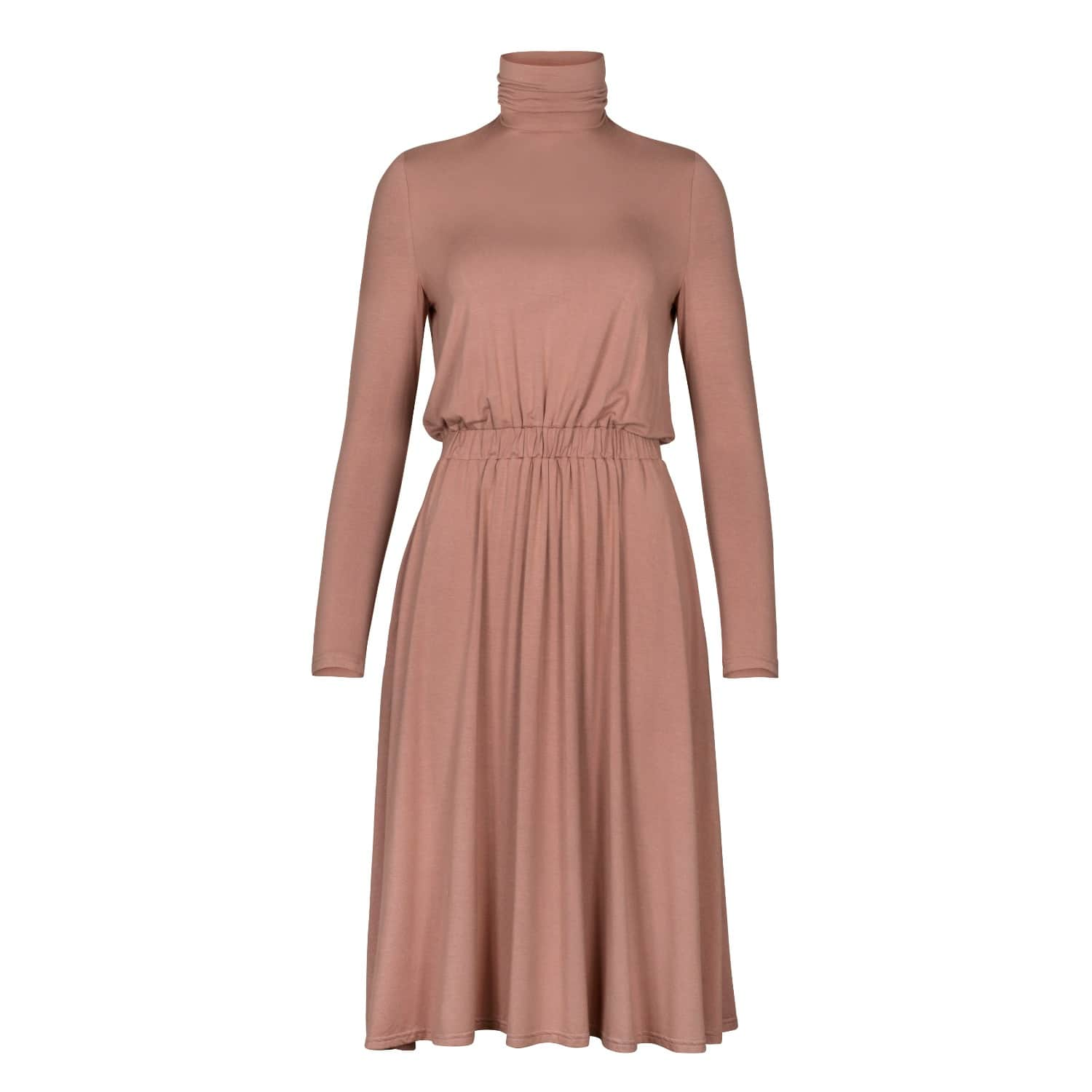 Turtleneck Jersey Dress With Elastic Ruched Waistband In Blush ...