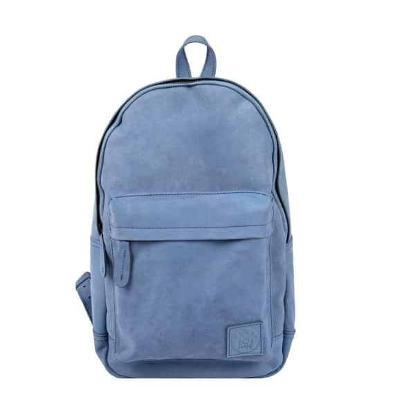 MAHI LEATHER Leather Classic Backpack Rucksack In Pastel Blue