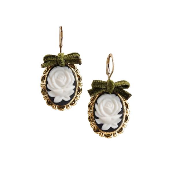 POPORCELAIN Dark Romance Rose Oval Porcelain Cameo Earrings