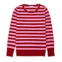 Merino Stripe Sweater Cherry Red & Flamingo Pink image