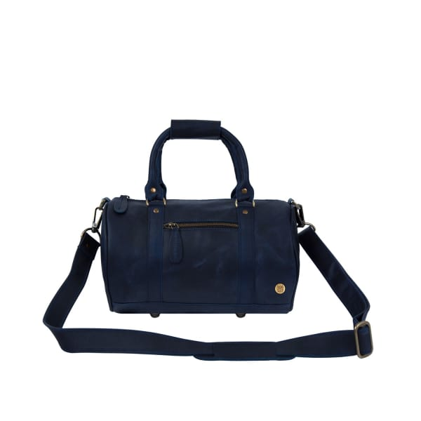 MAHI LEATHER Mini Duffle Handbag In Navy Leather