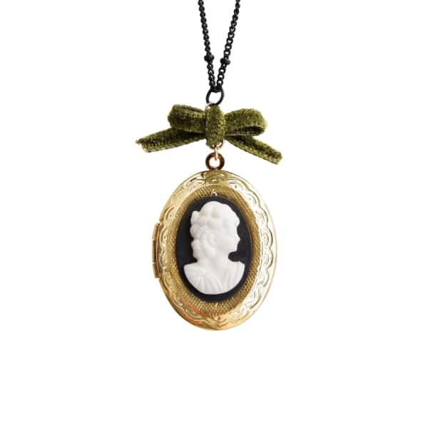 POPORCELAIN Dark Romance Goddess Oval Porcelain Cameo Locket Necklace