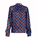 Brown Satin Silk Kate Blouse With Blue Print image