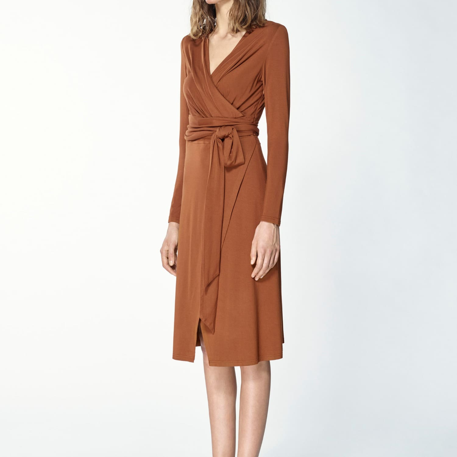 2ba23172ba Pleated Wrap Dress With Waist Tie In Brown