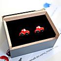 Car Cufflinks In Silver & Red Enamel image