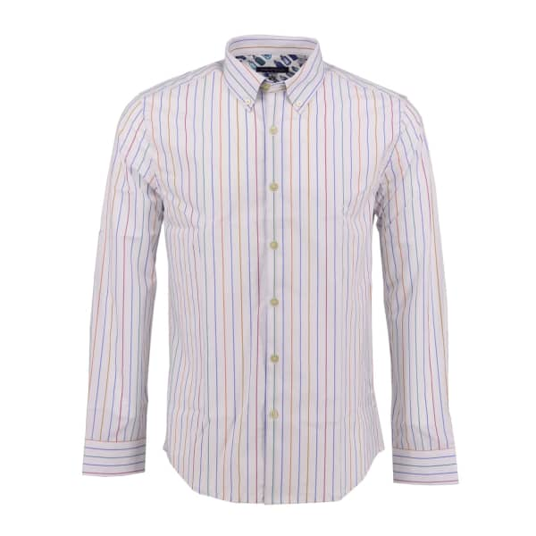 LORDS OF HARLECH Morris Shirt In Ivory Lines