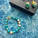 Round Turquoise & Freshwater Pearls Bracelet image