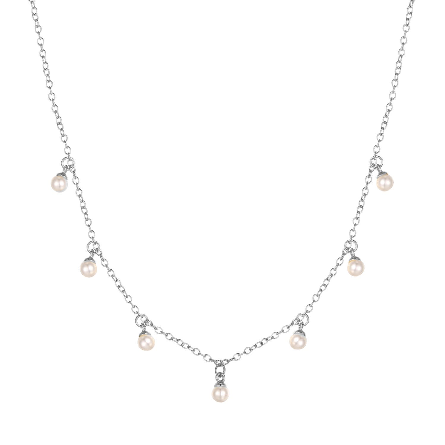 Ecoated Sterling Silver Pearl Drop Charm Necklace by SEOL + GOLD