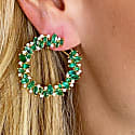 Blue Sapphire & Emerald Marquise & Round Earring In 18K Gold image