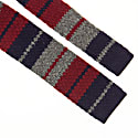 Burgundy Striped Wool & Cashmere Knitted Tie image