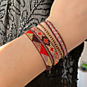 Beaded Set Of Two Bracelets In Pink Poppy Red & Gold Tones image
