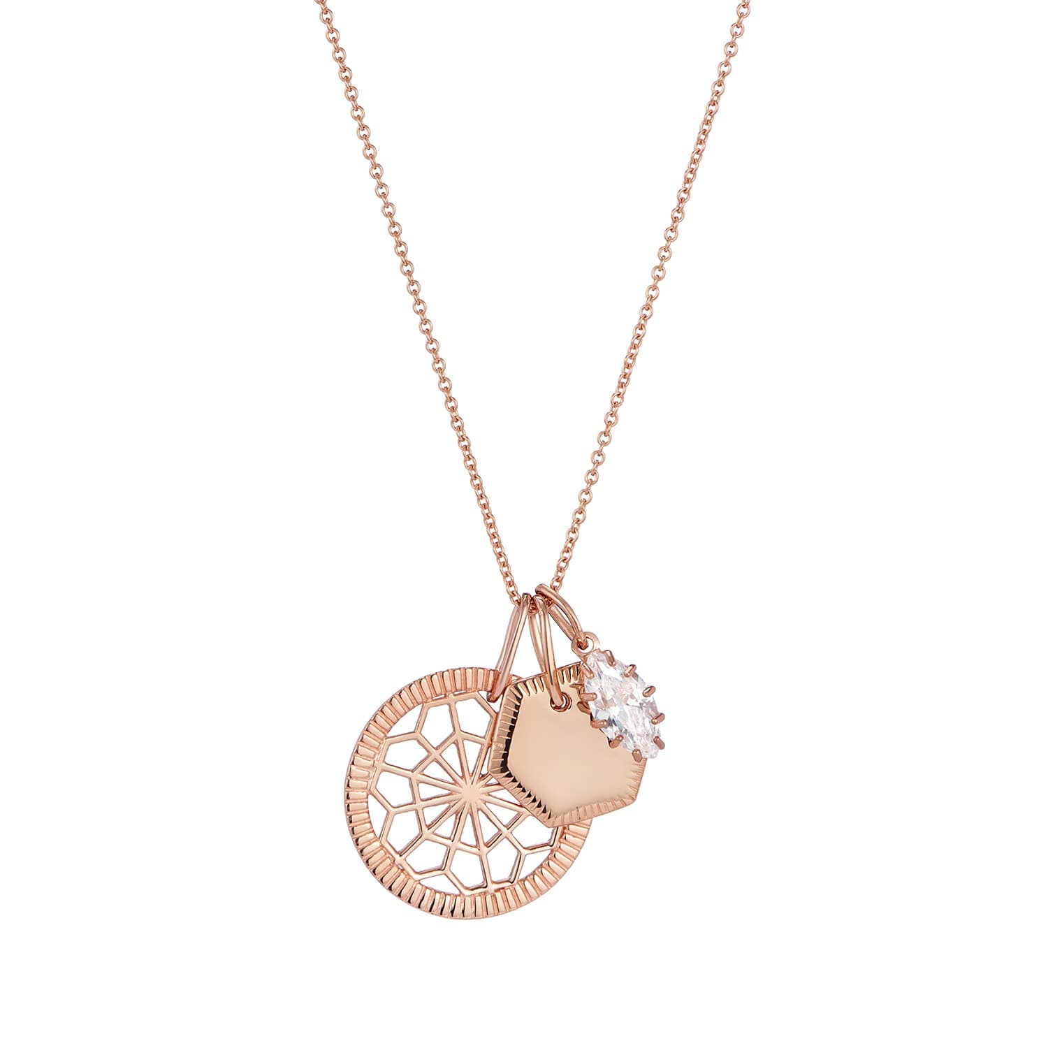 db81ff458bf77 Geometric Pendant Engraved Gold Disc & Marquise Jewel Charm Pendant Set On  Chain by One and One Studio