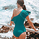 Peacock Off Shoulder Ruffle Onepiece Swimsuit Teal image