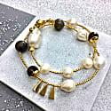 Freshwater Pearls & Labradorite Double Wrapped Bracelet image