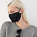 3 Pack Black Triple Layer Adjustable Silk Face Mask With Filter Pocket & Nose Wire In Black image