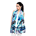 Frogs & Feathers Aqua Large Scarf image