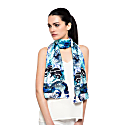 Frogs & Feathers Aqua Small Scarf image