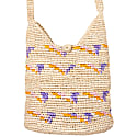 Raffia Mini Hobo Tote In Lavender Pink & Lemon image