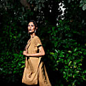 Garment Washed Cutwork Linen Dress and Bag - Biscuit image
