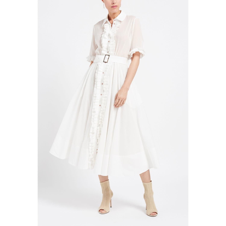 c4671c4fbe50 Elle White Cotton Ruffle Midi Shirt Dress image
