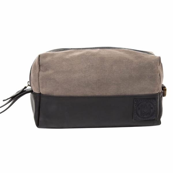 MAHI LEATHER Canvas & Leather Classic Wash Bag Dopp Kit in Black & Grey