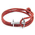 Red Noir Admiral Anchor Rope & Silver Bracelet image