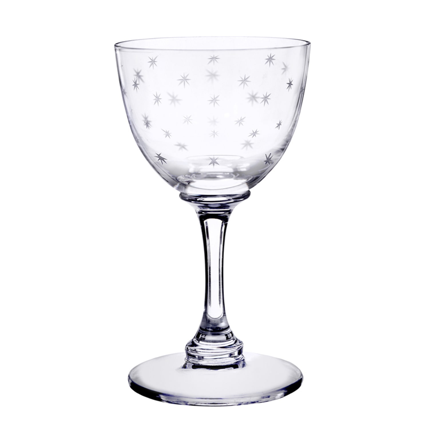 The Vintage List - Six Hand-Engraved Crystal Liqueur Glasses with Star Design