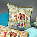 Agra Blue Silk Cushion image